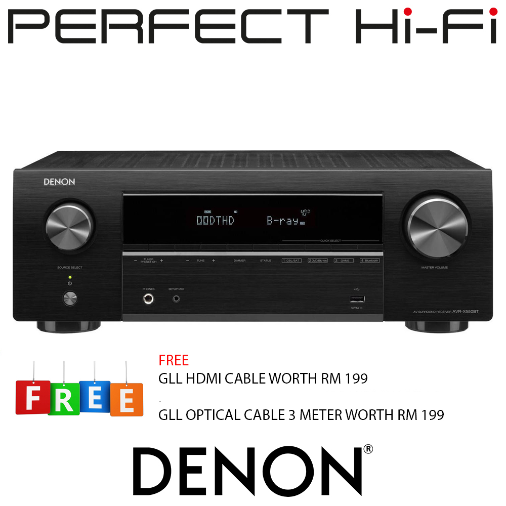 Denon AVR-X550BT 5.2 Ch. AV Receiver with Bluetooth