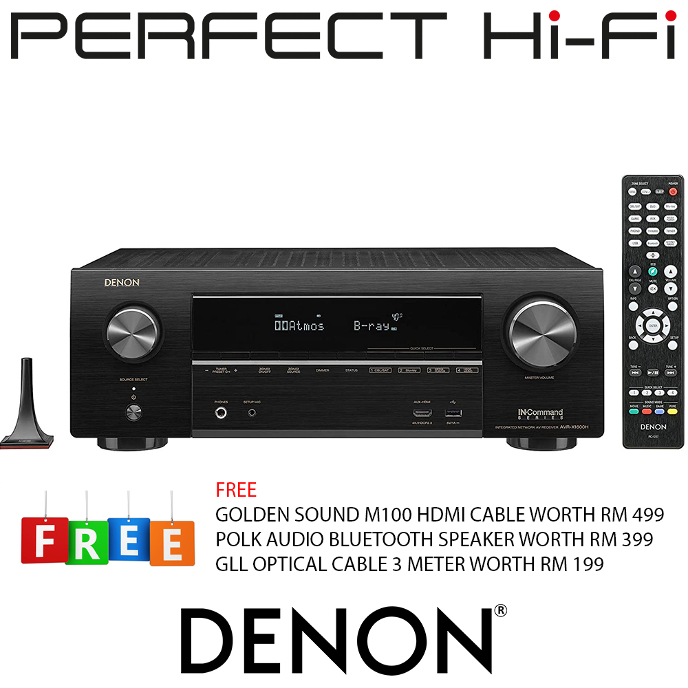 Denon AVR-X1600H 7.2 Bluetooth AV Receiver